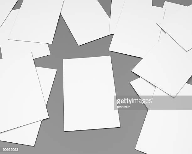 blank white papersheets on clean gray, generic office scene, CGI
