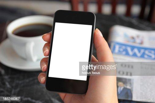 空のホワイトスクリーンのスマートフォン