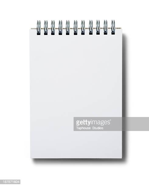 Blank white spiral notepad on white background