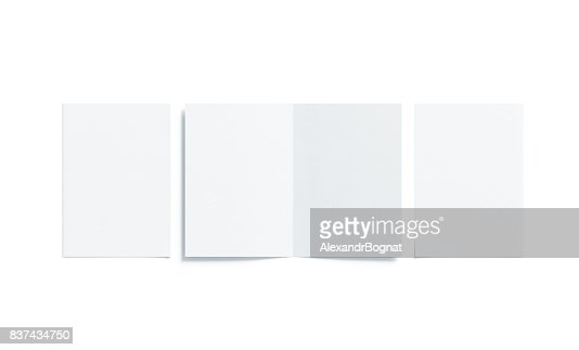 Blank white two folded a5 booklet mock up, opened closed : Stock Photo