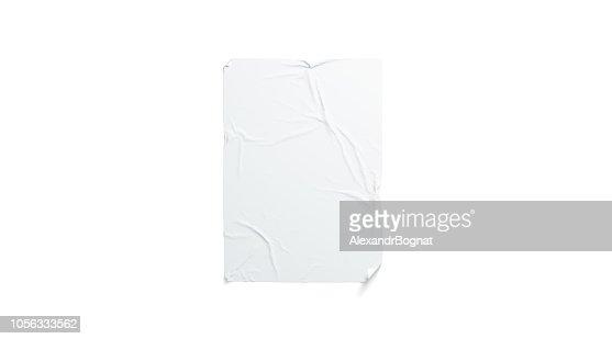 Blank white wheatpaste adhesive poster mockup, isolated : Stock Photo