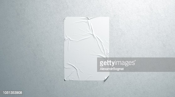 Blank white wheatpaste adhesive poster mockup on textured wall : Stock Photo