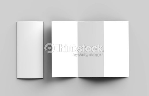 Blank White Z Fold Tri Brochure For Mock Up Template Design Render Ilration