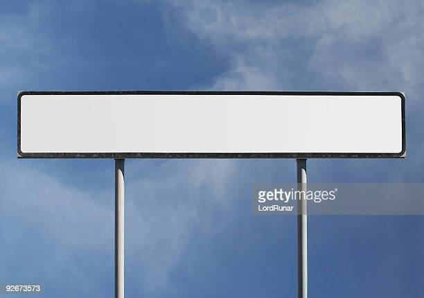 Blank wide road sign