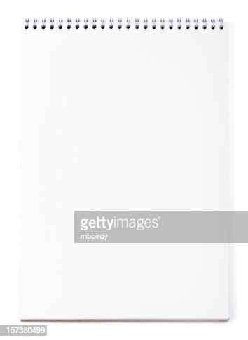 Blank wirebound notepad on white, clipping path