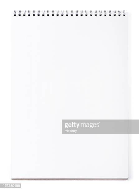Blank wirebound notepad on white, clipping path
