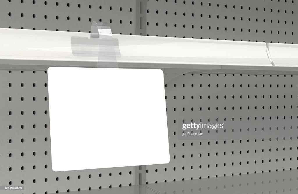 Blank wobbler attached to a retail store shelf