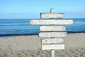 Old blank wooden sign at the beach