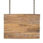 blank wooden sign hanging on a chain. isolated on white.