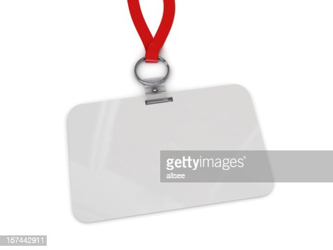 Blank work badge hanging from red lanyard