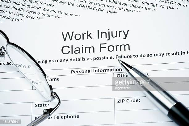Blank work injury claim form with guidelines