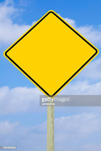Blank Yellow Road Warning Yield Sign