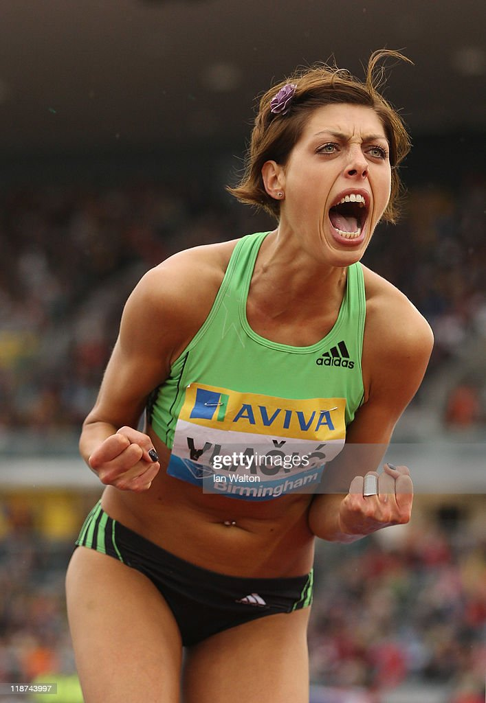 <a gi-track='captionPersonalityLinkClicked' href=/galleries/search?phrase=Blanka+Vlasic&family=editorial&specificpeople=597861 ng-click='$event.stopPropagation()'>Blanka Vlasic</a> of Croatia celebrates winning the womens high Jump during the AVIVA Grand Prix at Alexander Stadium on July 10, 2011 in Birmingham, England.