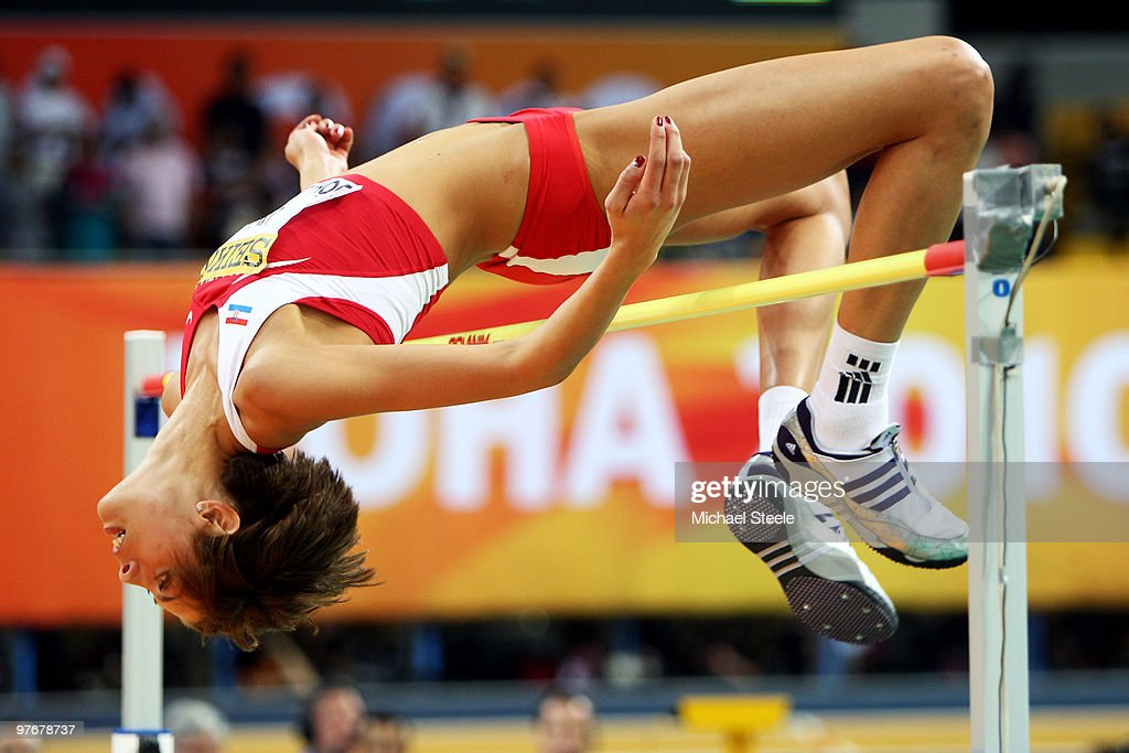<a gi-track='captionPersonalityLinkClicked' href=/galleries/search?phrase=Blanka+Vlasic&family=editorial&specificpeople=597861 ng-click='$event.stopPropagation()'>Blanka Vlasic</a> of Croatia competes in the Womens High Jump during Day 2 of the IAAF World Indoor Championships at the Aspire Dome on March 13, 2010 in Doha, Qatar.