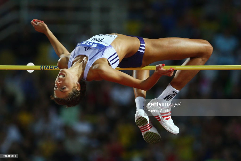 <a gi-track='captionPersonalityLinkClicked' href=/galleries/search?phrase=Blanka+Vlasic&family=editorial&specificpeople=597861 ng-click='$event.stopPropagation()'>Blanka Vlasic</a> of Croatia in action during the women's high jump during day two of the IAAF World Athletics Final at the Kaftanzoglio Stadium on September 13, 2009 in Thessaloniki, Greece.