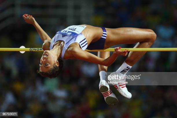 Blanka Vlasic of Croatia in action during the women's high jump during day two of the IAAF World Athletics Final at the Kaftanzoglio Stadium on...
