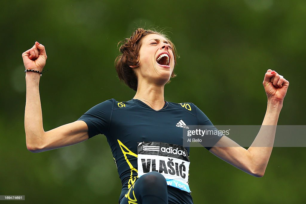 <a gi-track='captionPersonalityLinkClicked' href=/galleries/search?phrase=Blanka+Vlasic&family=editorial&specificpeople=597861 ng-click='$event.stopPropagation()'>Blanka Vlasic</a> of Croatia reacts after a succesful attempt in the High Jump during the Adidas Grand Prix at Icahn Stadium on Randall's Island on May 25, 2013 in New York City.