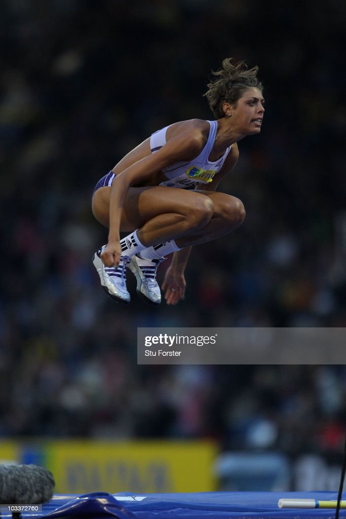 <a gi-track='captionPersonalityLinkClicked' href=/galleries/search?phrase=Blanka+Vlasic&family=editorial&specificpeople=597861 ng-click='$event.stopPropagation()'>Blanka Vlasic</a> of Croatia reacts after knocking down the bar in the Womens High Jump during the Aviva London Grand Prix at Crystal Palace on August 13, 2010 in London, England.