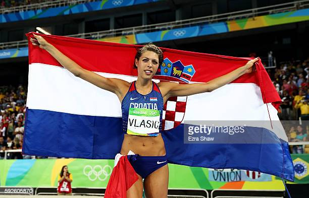 Blanka Vlasic of Croatia reacts after winning bronze in the Women's High Jump Final on Day 15 of the Rio 2016 Olympic Games at the Olympic Stadium on...