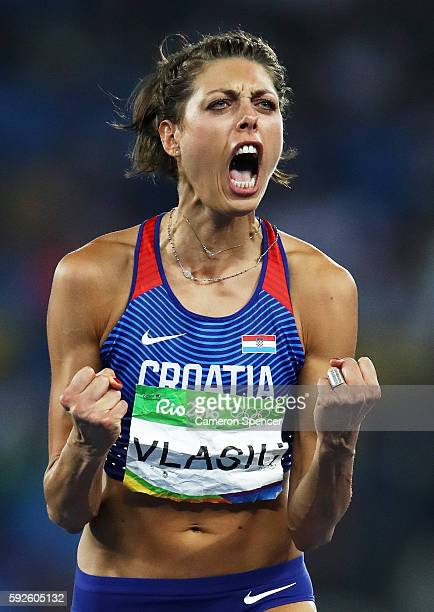 Blanka Vlasic of Croatia reacts during the Women's High Jump Final on Day 15 of the Rio 2016 Olympic Games at the Olympic Stadium on August 20 2016...