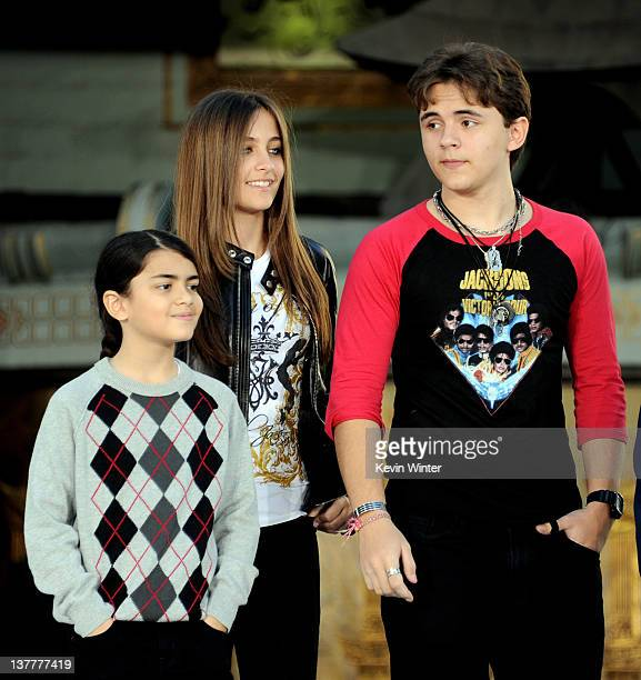 Blanket Jackson Paris Jackson and Prince Jackson appear at the Michael Jackson Hand and Footprint ceremony at Grauman's Chinese Theatre on January 26...