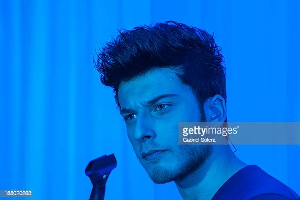 Blas Canto of spanish pop band Auryn performs in concert in Madrid on November 14 2013 in Madrid Spain