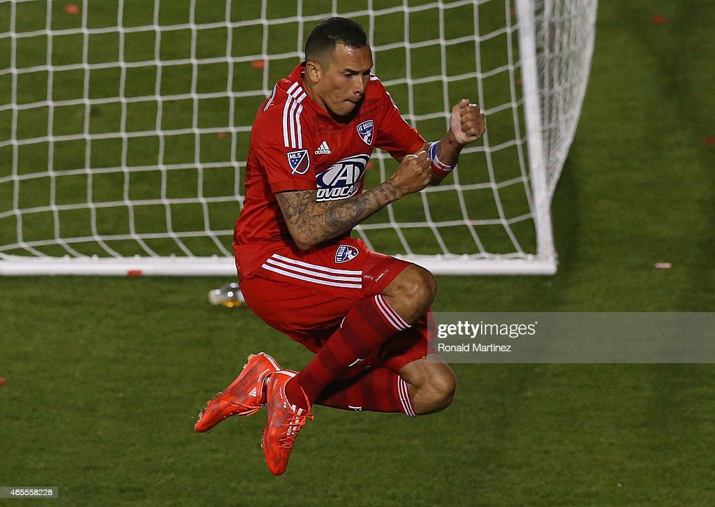 <a gi-track='captionPersonalityLinkClicked' href=/galleries/search?phrase=Blas+Perez&family=editorial&specificpeople=4084276 ng-click='$event.stopPropagation()'>Blas Perez</a> #7 of FC Dallas celebrates a goal against the San Jose Earthquakes at Toyota Stadium on March 7, 2015 in Frisco, Texas.
