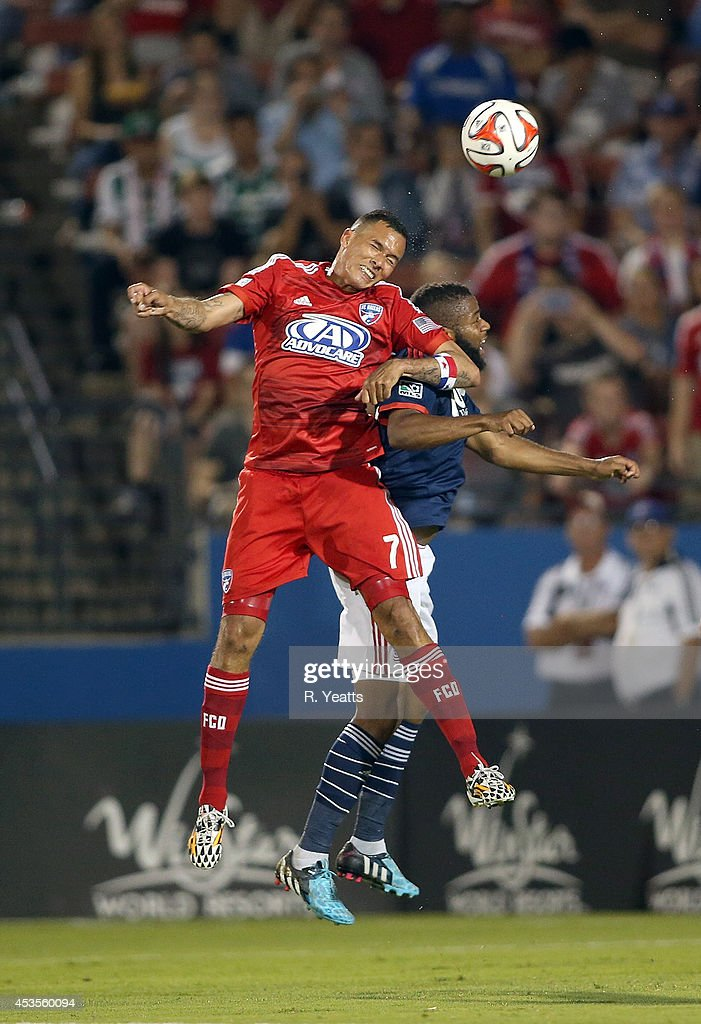 <a gi-track='captionPersonalityLinkClicked' href=/galleries/search?phrase=Blas+Perez&family=editorial&specificpeople=4084276 ng-click='$event.stopPropagation()'>Blas Perez</a> #7 of FC Dallas heads the ball against the New England Revolution at Toyota Stadium on July 19, 2014 in Frisco, Texas.