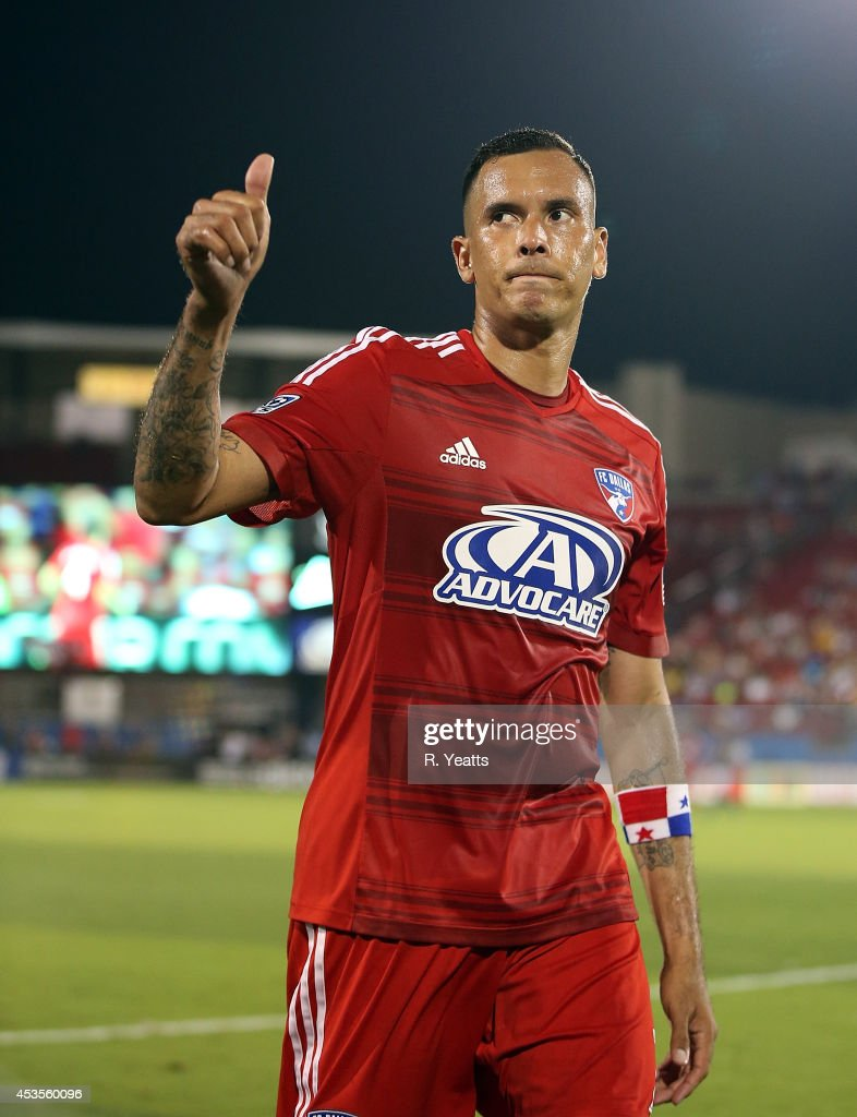 <a gi-track='captionPersonalityLinkClicked' href=/galleries/search?phrase=Blas+Perez&family=editorial&specificpeople=4084276 ng-click='$event.stopPropagation()'>Blas Perez</a> #7 of FC Dallas reacts on the field against the New England Revolution at Toyota Stadium on July 19, 2014 in Frisco, Texas.