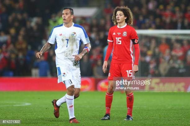 Blas Perez of Panama and Ethan Ampadu of Wales during the International Friendly match between Wales and Panama at The Cardiff City Stadium on...