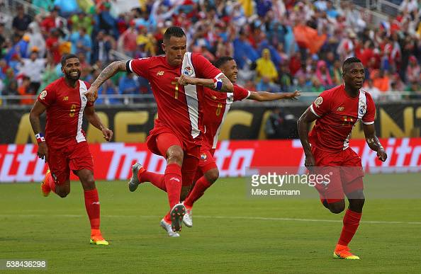 Blas Perez of Panama celebrates a goal during a match against the Bolivia during the 2016 Copa America Group D at Camping World Stadium on June 6...