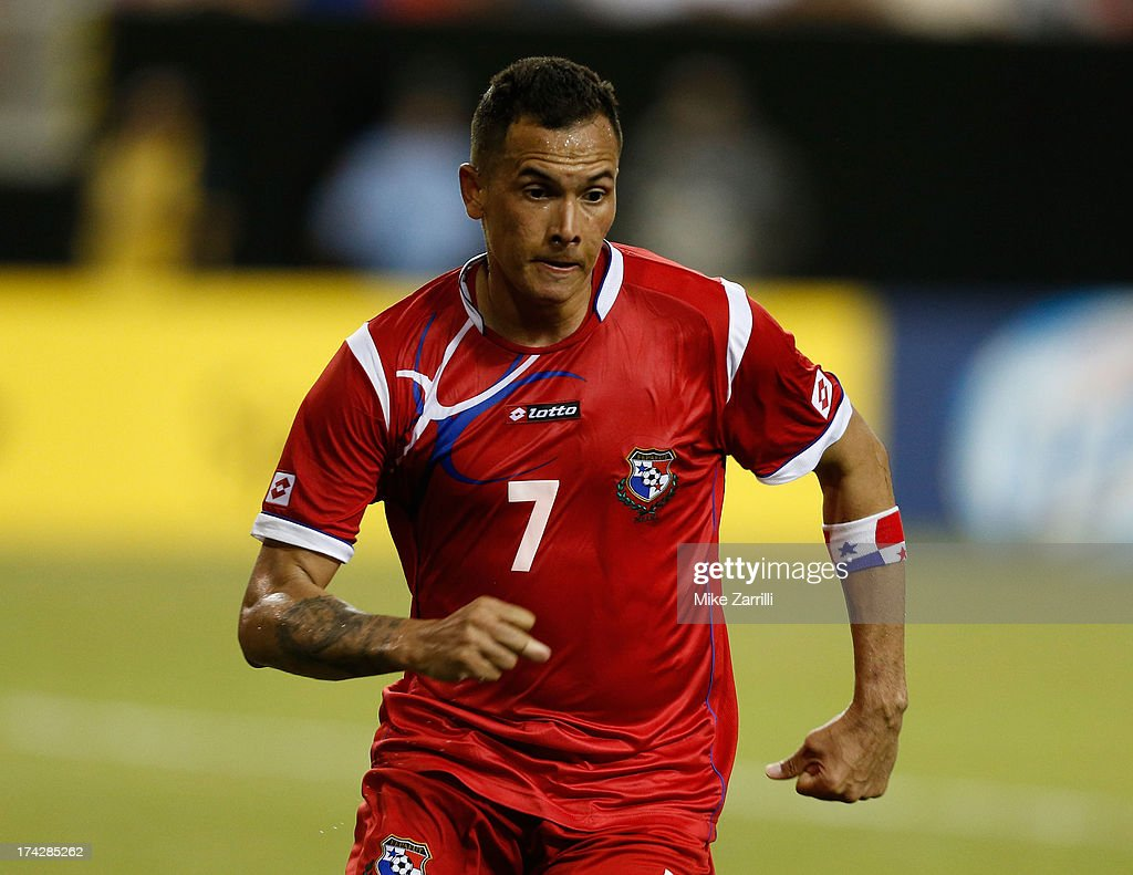 <a gi-track='captionPersonalityLinkClicked' href=/galleries/search?phrase=Blas+Perez&family=editorial&specificpeople=4084276 ng-click='$event.stopPropagation()'>Blas Perez</a> #7 of Panama celebrates after a goal during the CONCACAF Gold Cup quarterfinal game against Cuba at the Georgia Dome on July 20, 2013 in Atlanta, Georgia.