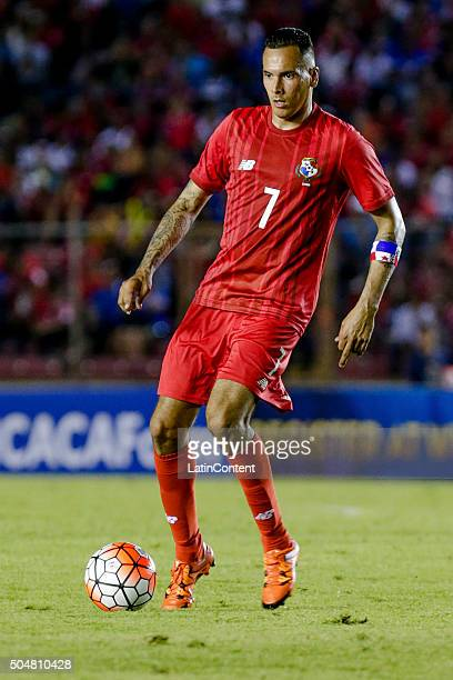 Blas Perez of Panama drives the ball during the match between Cuba and Panama as part of the Copa America Centenario Qualifiers at Rommel Fernandez...