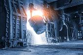 Blast furnace smelting liquid steel in steel mills,industrial background