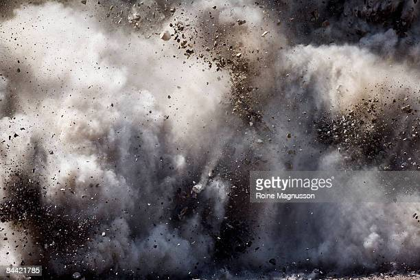 Blast of dirt and rocks