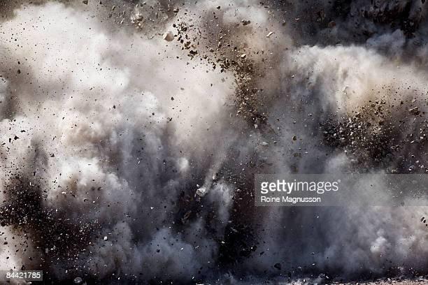 Blast of dirt and rocks
