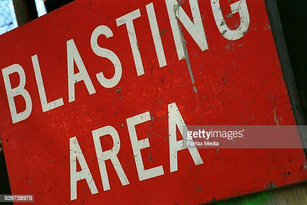 'Blasting Area' sign at the Elgas LPG underground storage 17 August 1998 AFR Picture by VIRGINIA STAR