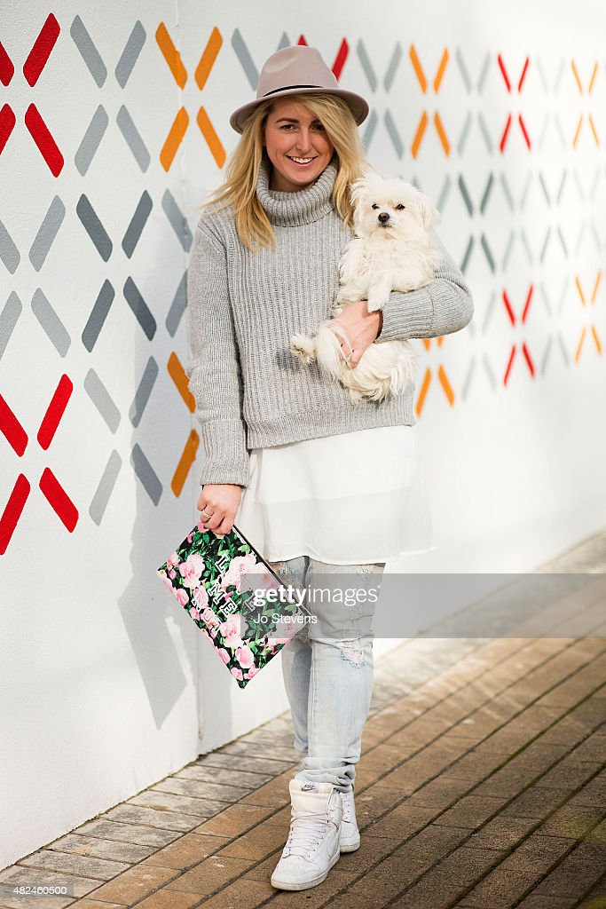 Blathnaid Prenter, blogger wears Sportsgirl hat, Country Road knit, Mad Love the label jeans, Collette by Collette Hayman bag and Nike shoes on July 8, 2015 in Melbourne, Australia.