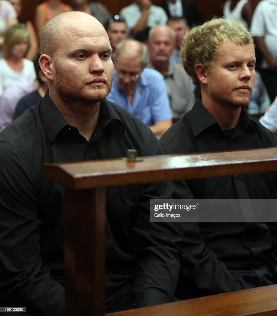 Blayne and Kyle Shepard appear in the Durban Magistrate court for their bail application on April 8, 2013 in Durban, South Africa. Both Shepards have been charged with the murder of a British Royal Marine, Brett Williams. Williams was beaten to death at a Super XV Match at Durban Stadium.
