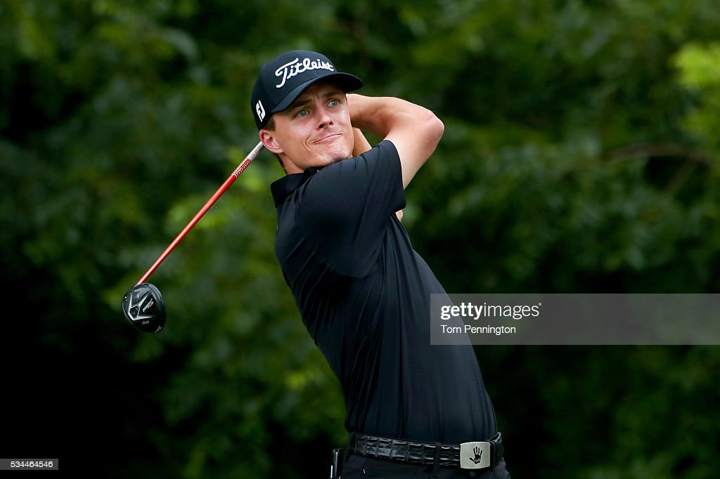 <a gi-track='captionPersonalityLinkClicked' href=/galleries/search?phrase=Blayne+Barber&family=editorial&specificpeople=8253985 ng-click='$event.stopPropagation()'>Blayne Barber</a> plays his shot from the sixth tee during the First Round of the DEAN & DELUCA Invitational at Colonial Country Club on May 26, 2016 in Fort Worth, Texas.