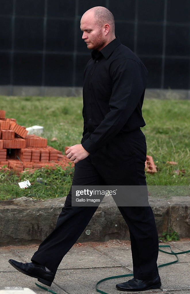 Blayne Shepard outside court after his bail application on April 8, 2013 in Durban, South Africa. Shepard is one of the accused charged with the murder of a British Royal Marine, Brett Williams. Williams was beaten to death at a Super XV Match at Durban Stadium.