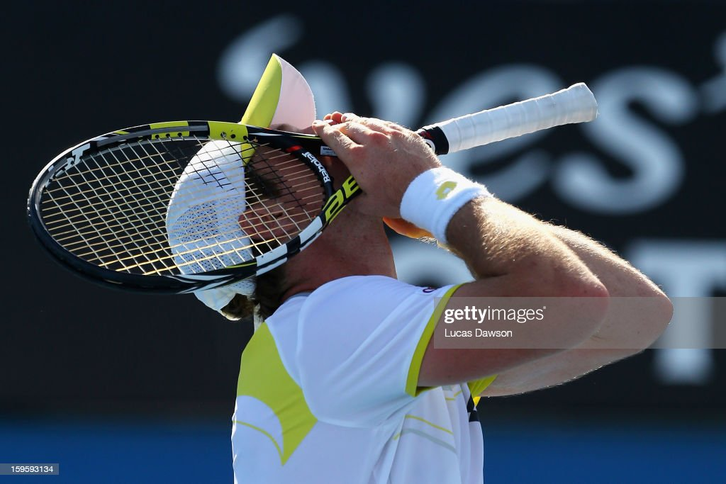 <a gi-track='captionPersonalityLinkClicked' href=/galleries/search?phrase=Blaz+Kavcic&family=editorial&specificpeople=7023045 ng-click='$event.stopPropagation()'>Blaz Kavcic</a> of Slovenia celebrates winning his second round match against James Duckworth of Australia during day four of the 2013 Australian Open at Melbourne Park on January 17, 2013 in Melbourne, Australia.