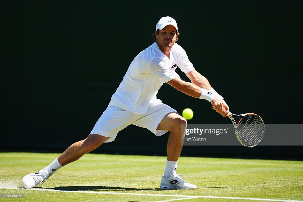 <a gi-track='captionPersonalityLinkClicked' href=/galleries/search?phrase=Blaz+Kavcic&family=editorial&specificpeople=7023045 ng-click='$event.stopPropagation()'>Blaz Kavcic</a> of Slovenia in action in his Gentlemens Singles first round match against Yuichi Sugita of Japan during day two of the Wimbledon Lawn Tennis Championships at the All England Lawn Tennis and Croquet Club on June 30, 2015 in London, England.
