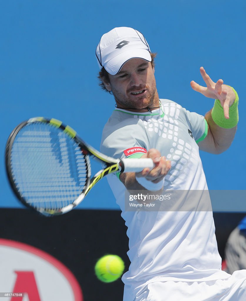<a gi-track='captionPersonalityLinkClicked' href=/galleries/search?phrase=Blaz+Kavcic&family=editorial&specificpeople=7023045 ng-click='$event.stopPropagation()'>Blaz Kavcic</a> of Slovenia plays a forehand in his first round match against James Duckworth of Australia during day one of the 2015 Australian Open at Melbourne Park on January 19, 2015 in Melbourne, Australia.