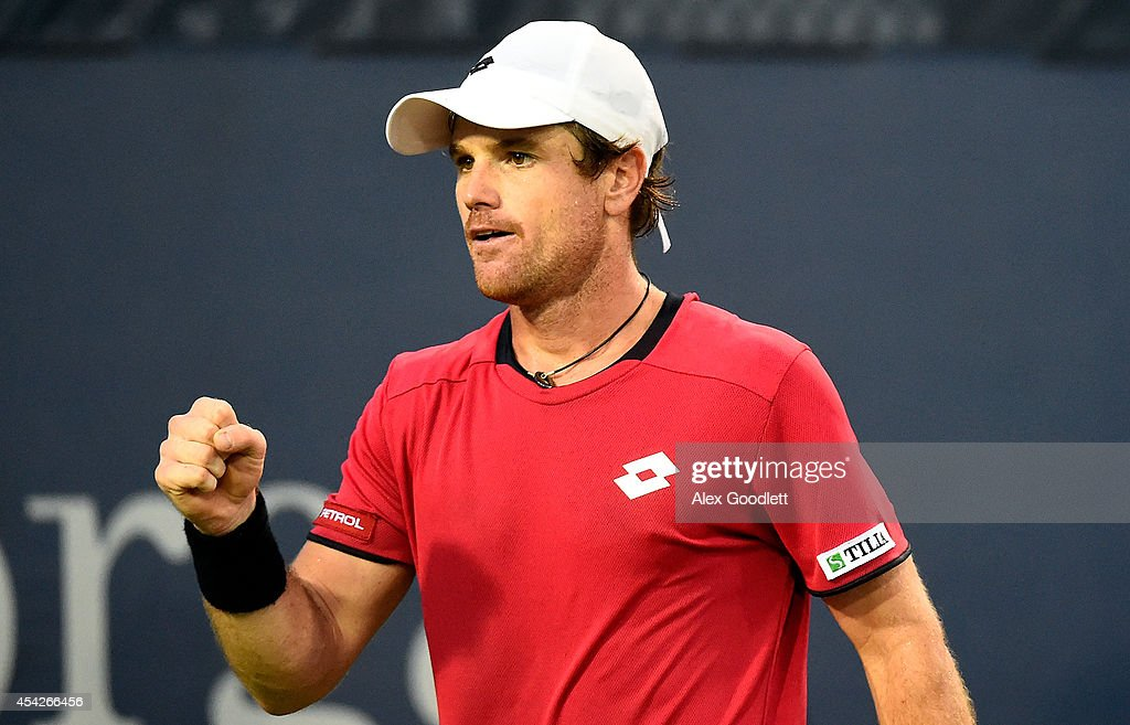 <a gi-track='captionPersonalityLinkClicked' href=/galleries/search?phrase=Blaz+Kavcic&family=editorial&specificpeople=7023045 ng-click='$event.stopPropagation()'>Blaz Kavcic</a> of Slovenia reacts against Jeremy Chardy of France during their men's first round match on Day Three of the 2014 US Open at the USTA Billie Jean King National Tennis Center on August 27, 2014 in the Flushing neighborhood of the Queens borough of New York City.