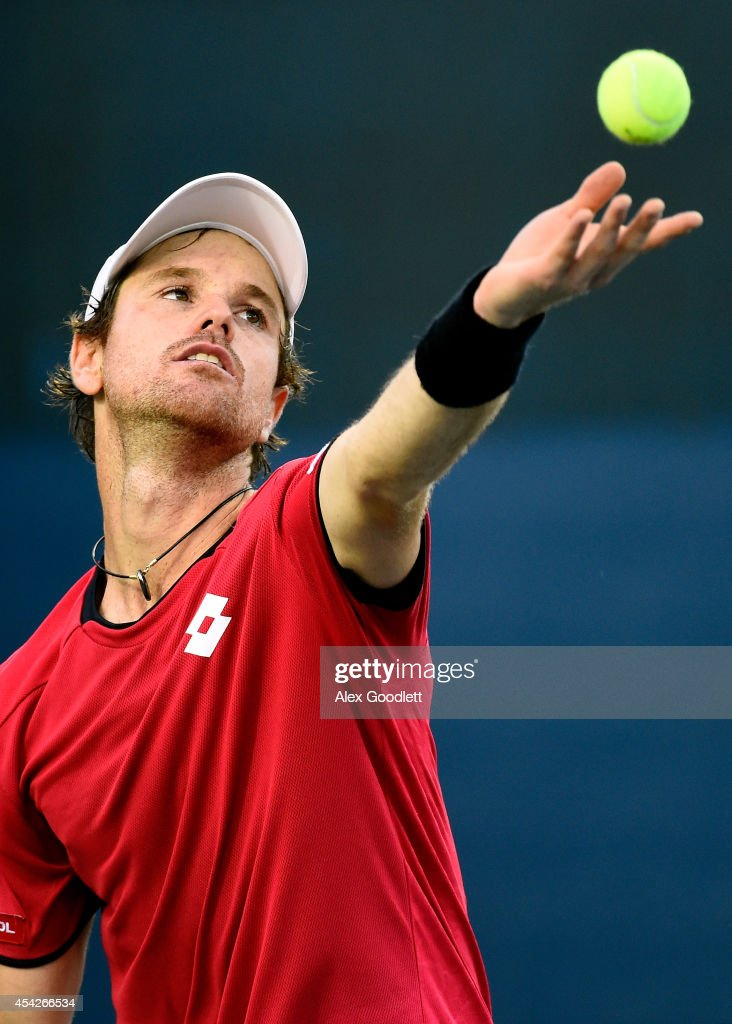 <a gi-track='captionPersonalityLinkClicked' href=/galleries/search?phrase=Blaz+Kavcic&family=editorial&specificpeople=7023045 ng-click='$event.stopPropagation()'>Blaz Kavcic</a> of Slovenia reacts serves against Jeremy Chardy of France during their men's first round match on Day Three of the 2014 US Open at the USTA Billie Jean King National Tennis Center on August 27, 2014 in the Flushing neighborhood of the Queens borough of New York City.
