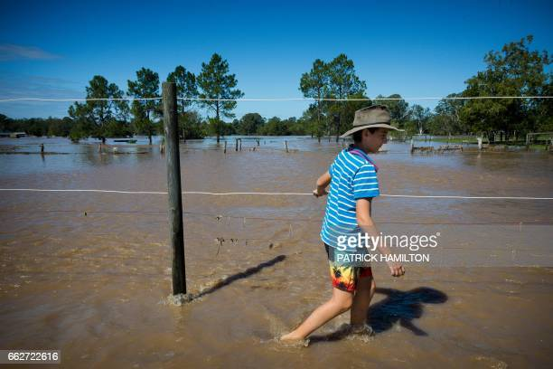 Blaze Archibald walks walks along a flooded fenceline on the banks of the Logan River caused by Cyclone Debbie in North MacLean Brisbane on April 1...