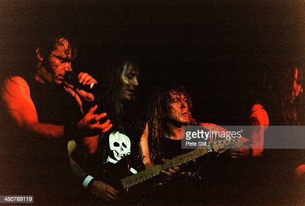 Blaze Bayley Dave Murray Janick Gers and Steve Harris of Iron Maiden perform on stage at Brixton Academy on November 10th 1995 in London England