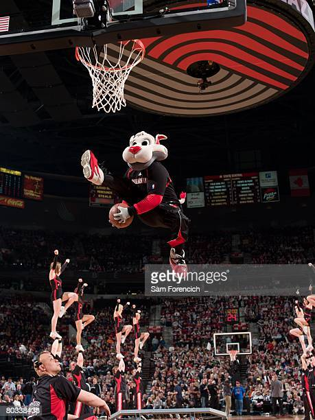 Blaze mascot of the Portland Trail Blazers performs during the game against the Minnesota Timberwolves on March 15 2008 at the Rose Garden in...