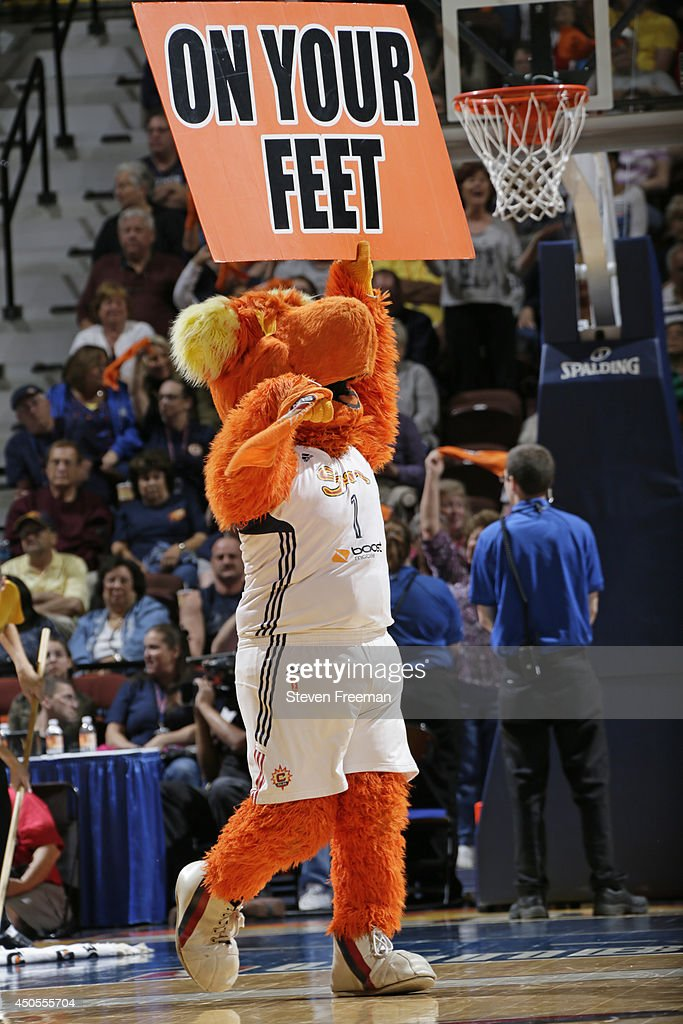 Blaze, the Connecticut Sun mascot, holds up signs during the game against Phoenix Mercury on June 12, 2014 at Mohegan Sun Arena in Uncasville, Connecticut.